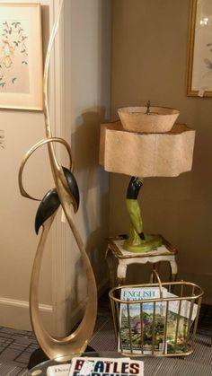 Midcentury chalkware dancer lamps with fiberglass shades.