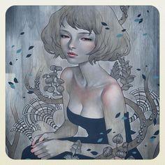 Amazing painting 'Hiding Place' 2015 by beautiful. Japanese American, Japanese Art, Dani Olivier, Sea Costume, Art Nouveau, Audrey Kawasaki, Font Art, Amazing Paintings, Silhouette
