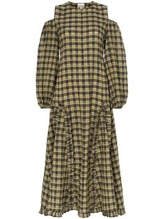 94ec80fe337 Shop online Ganni Charron cold-shoulder checked maxi-dress now with Same  Day Delivery in London.