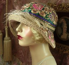 1920S VINTAGE STYLE BROWN & GOLD EMBROIDERED FEATHER CLOCHE FLAPPER HAT #PatriciaJosephineAntiqueStyleDesign