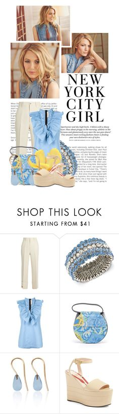 """""""New York City......Blake Lively"""" by queenrachietemplateaddict ❤ liked on Polyvore featuring Gucci, H&M, Carolee, Marni, Love Is, Blue, celebrity and blakelively"""