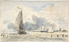 Johan Barthold Jongkind (Dutch, 1819–1891). Dutch Fishing Boats, Verso: Sketches of Boats, 1870. The Metropolitan Museum of Art, New York. Mr. and Mrs. Isaac D. Fletcher Collection, Bequest of Isaac D. Fletcher, 1917 (17.120.238)
