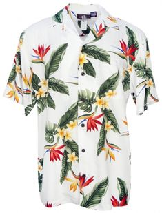 BOP Plumeria Mens Hawaiian Aloha Shirt in White