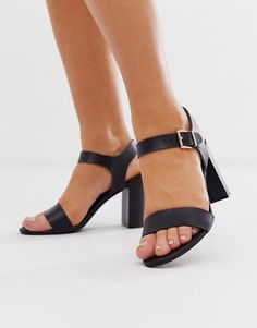 Shop New Look Wide Fit block heeled sandals in black at ASOS. Block Sandals, Block Heels, Heeled Sandals, Shoes Heels, High Street Brands, Real Leather, Fitness Fashion, New Look, Open Toe