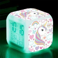 Unicorn Digital Alarm Clocks for Girls, LED Night Glowing Cube LCD Clock with Light Children Wake Up Bedside Clock Birthday Gifts for Kids Women Bedroom (Lady Unicorn) Unicorn Bedroom Accessories, Unicorn Bedroom Decor, Unicorn Rooms, Unicorn Decor, Girl Bedroom Designs, Girls Bedroom, Ikea Girls Room, Bedside Clock, Zapf Creation