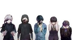 This HD wallpaper is about five anime characters illustration, Tokyo Ghoul, Kaneki Ken, white background, Original wallpaper dimensions is file size is Manga Anime, Ken Anime, Fanarts Anime, Anime Guys, Tokyo Ghoul Manga, Itori Tokyo Ghoul, Ken Kaneki Tokyo Ghoul, Tokyo Ghoul Takizawa, Touka Kagune