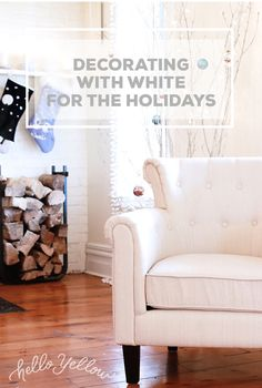 Secrets to decorating with WHITE for the Holidays Monochromatic Decor, Holiday Crafts, Holiday Decor, Holiday Fashion, Winter White, Country Living, Decorating Your Home, Furniture Ideas, Armchair