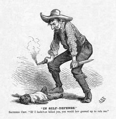 """""""IN SELF-DEFENSE"""" Cartoonist: A. B. Frost Source: Harper's Weekly Date: October 28, 1876, p. 880  Complete HarpWeek Explanation:  This image dramatically condemns the brutal racism of some white Southerners against blacks. The white man has killed a black child, and his plea of """"self-defense"""" exemplifies the perspective among Southern whites that Reconstruction had led to """"black rule."""" The cartoon appeared just a few weeks before the presidential election.  #howmuchhaschanged?"""