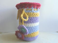 Pretty Crocheted Jar Cosy - Folksy