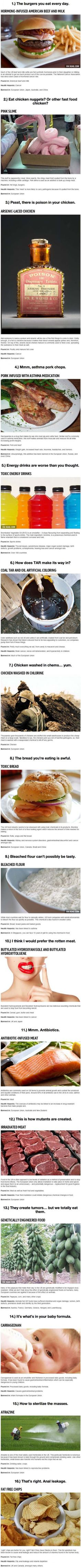 Here Are 16 Foods So Bad For You They're BANNED In Some Countries. But Not America.