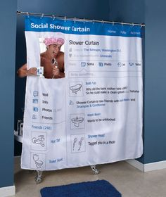 """Social Shower Curtain The profile pic is clear for """"real time"""" profile pics. Would you buy this? #SmGirlfriends #socialgonetoofar Social Network Themed Gifts