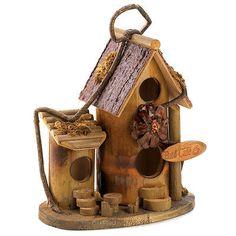 BIRD CAFE BIRDHOUSE Coffee Shop Wood Bird House NEW