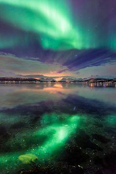 Northern light reflection, Tromsø, Norway