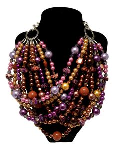 """A new edition to the J by JT """"Classic Collection"""" in brilliant jewel tones, including purples, golds, browns, and lavender. SO pretty together!     CLASSIC Statement Necklace Purple Gold Brown by JewelryByJessicaT,"""