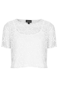 Topshop | Embroidered Mesh Top