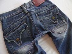 G-Staw Raw Men Jeans 3301 Long Flap Distressed Low Rise Slim Straight 28 x 30 #GStar #SlimStraight