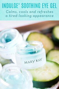 Tired, puffy eyes? Indulge® Soothing Eye Gel contains botanical extracts reported to tone, firm and reduce the appearance of puffiness around the sensitive eye area. It calms, cools and refreshes a tired-looking appearance! | Mary Kay