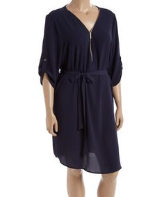Love this Navy Zip-Front Three-Qarter Sleeve Dress - Plus on #zulily! #zulilyfinds