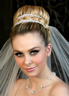 Bride's sleek updo bun bridal hair Toni Kami Wedding Hairstyles ♥ ❷ Wedding… Bridal Chignon, Wedding Updo, Wedding Dress, Bridal Hairdo, Boho Wedding, Dream Wedding, High Bun Hairstyles, Bride Hairstyles, Chignon Hairstyle