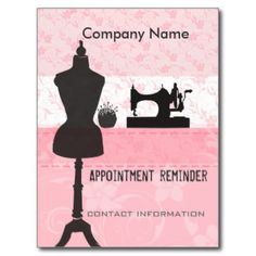Seamstress & Fashion Stylist appointment reminder!  Appointment reminder design is suitable for seamstress, fashion stylist, wedding garment industry , home fashions, fashion designers and other services related to Sewing and styling. Postcard is customizable - add your personal & business information , date and time and name of stylist for reminder!  We offer a large variety of coordinating salon and hair items - from tshirts to business cards. Check out our store. ...
