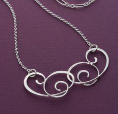 Forged Silver Double Scrollwork Necklace