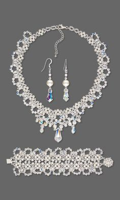 Collar-Style Necklace, Bracelet and Earring Set with Swarovski Crystal and Seed Beads