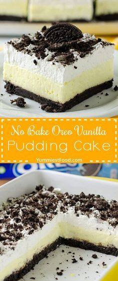 NO BAKE OREO VANILLA PUDDING CAKE – Quick and easy NO BAKE dessert recipe with only a few ingredients for any time of the year! Snickerdoodle Cheesecake Bars Quick Simple Cherry Delight Recipe is a wonderful and easy no-bake dessert. Oreo Pudding Dessert, Vanilla Pudding Desserts, Desserts Keto, Quick Dessert Recipes, Easy No Bake Desserts, Mini Desserts, Dessert Bars, Delicious Desserts, Cake Recipes
