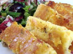 crispy chickpea fritters Made this but it worked better for me to bake the strips. Very tasty! 2 cups chickpea flour  3 cups water  1 tablespoon coarse sea salt  1/4 red onion, minced  1 carrot, grated  2 tablespoons minced fresh rosemary  2 tablespoons extra virgin olive oil  oil for frying    combine & whisk til no lumps over med heat. spread in 9 x 12 & cool for 2 hours.  cut into strips & pan fry