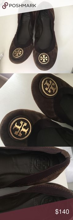 Tory Burch shoes Tory Burch brown flats with stretch-- only worn about 2-3 times!! In great condition and VERY comfortable!! Only mark is seen in picture Tory Burch Shoes Flats & Loafers