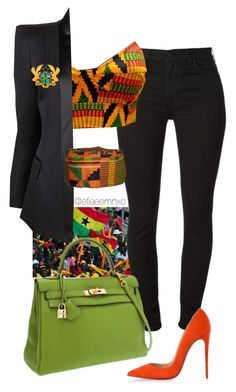 Ghana Independence Day 06.03.1957 by efiaeemnxo on Polyvore featuring polyvore, fashion, style, Balmain, Christian Louboutin, Hermès and clothing