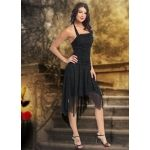 Black Halter Square Asymmetrical Chiffon Prom Dress With Beading And Pleats