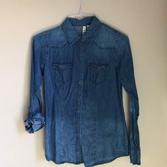 Blue ombré shirt Blue ombré shirt. Button down. Size is M but more like a S. Not urban just for views. Urban Outfitters Tops Button Down Shirts