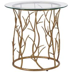 Gold Vine Circular Side Table ($195) ❤ liked on Polyvore featuring home, furniture, tables, accent tables, gold round table, circular table, gold end table, round accent table and circular end table