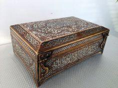 Ottoman silver Mamluk box with arabic calligraphy. Pretty!