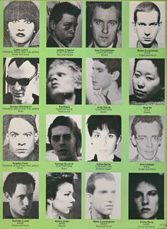 A collection of No Wavers, from the back cover of the No New York compilation, produced by Brian Eno for Antilles Records in 1978.