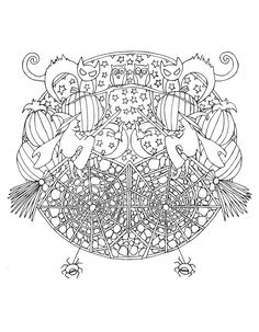 Fall Coloring Pages, Halloween Coloring Pages, Adult Coloring Pages, Coloring Sheets, Coloring Books, Halloween Skull, Halloween Horror, Happy Halloween, Scary Pumpkin