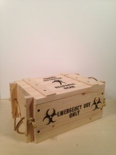 Medium Wooden Military Style Crate, Zombie Outbreak Response Gear, Vintage Style Box Diy Wooden Projects, Small Wood Projects, Wooden Diy, Wooden Boxes, Pallet Boxes, Trunks And Chests, Crate Storage, Wood Crates, Wood Toys