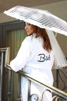 Blushing Bride White Robe – Arenlace Bridal Boutique Black and white wedding theme #Arenlace Bridal line