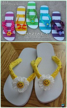 Crochet Flip Flop Footwear Makeover Free Patterns: Flip Flop Slippers Refashion, restyle with crochet flip flop soles into slippers, sandals and even boots Flip Flop Slippers, Flip Flop Shoes, Crochet Sandals, Crochet Slippers, Knitting Patterns Free, Free Pattern, Best Flip Flops, Flip Flops Diy, Flip Flop Images