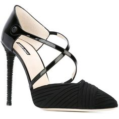 Giorgio Armani Strappy Stiletto Pumps (1.020 BRL) ❤ liked on Polyvore featuring shoes, pumps, heels, black shoes, black heel pumps, black heel shoes, black stilettos and stiletto heel pumps
