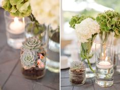 wedding succulent centerpieces candles - Szukaj w Google