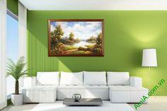 Tranh trang trí in giả sơn dầu phong cảnh thiên nhiên Amia 508-02