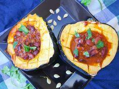 Chili Stuffed Acorn Squash Recipe - Yup, it's Vegan