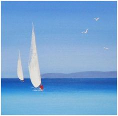 TABLEAU PEINTURE Corse Paysage Mer Peinture au couteau Acrylique - Les Voiles Blanches