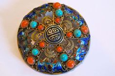 Vintage Chinese Gilded Silver and Enamel Large Pin with Real Corals Turquoise | eBay>$400