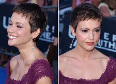 Super Short Hair, Short Hair Cuts, Short Hair Styles, Pixie Cuts, Buzzed Pixie, Alyssa Milano Hair, Very Short Haircuts, Pixie Hairstyles, Hair Looks