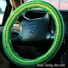 Daisy Stripes Steering Wheel Cover pattern by Hook Candy