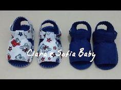 Como fazer sandália unissex para bebês em feltro a mão - YouTube