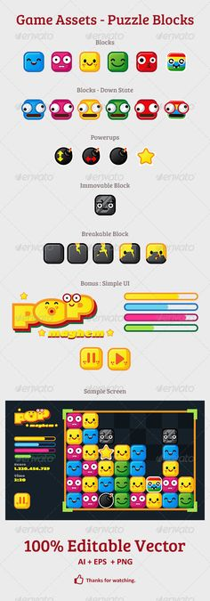 Puzzle Blocks Game Assets. Good for tiled puzzle games, eg: match three games.  URL : http://graphicriver.net/item/game-assets-puzzle-blocks/7458021?ref=hamdirizal