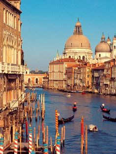 Grand Canal  -  Venice, Italy  -  about 2.5 miles long...100-300 feet wide...some 16 feet deep  -  buildings along it date from 13th-18th centuries  -  the oldest is Venetian-Byzantine architecture  -  15th century some Venetian Gothic came in -  16th century brought Renaissance & Classic  -  16th & 17th added Baroque